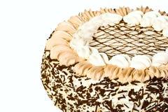 Birthday cake with custard. Isolated on white background stock images