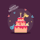 Birthday cake with a cute little animals Royalty Free Stock Photos