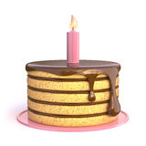 Birthday cake 3D. Render illustration isolated on white background Royalty Free Stock Images