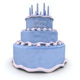 Birthday cake. 3D rendering of a big blue birthday cake royalty free illustration