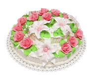 Birthday cake decorated with flowers isolated on white backgroun Royalty Free Stock Image