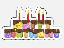 Birthday cake. Decorated birthday greeting text, Bright vector image Royalty Free Stock Photos