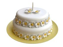 Birthday Cake Decorated with Marzipan Flowers Royalty Free Stock Images