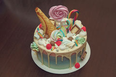 Birthday cake with decoration for children& x27;s birthday on table.  Royalty Free Stock Photos