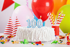 Birthday Cake And Decoration Stock Photo
