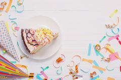 Birthday cake and decoration on wooden background stock image