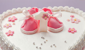 Baby Girl Birthday Cake Cute Baby Shoes Stock Photos 61 Images