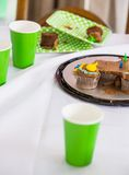 Birthday Cake And Disposable Cups Stock Images