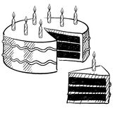Birthday cake drawing Royalty Free Stock Images