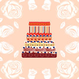 Birthday cake with eighteen candles. Eighteen years Royalty Free Stock Images