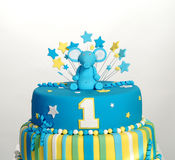 Birthday cake with elephant figurine Royalty Free Stock Photography