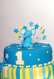 Birthday cake with elephant figurine Stock Images