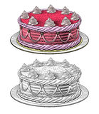 Birthday cake. In engraving style, isolated, grouped on transparent background Stock Photo