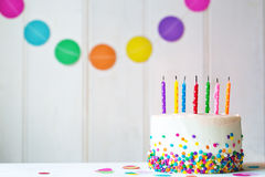 Birthday cake with extinguished candles Stock Images