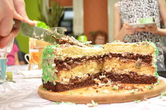 Birthday cake. Family gathering, celebration. Pastries and sweets Stock Images