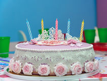 Birthday cake with five candles Stock Photos