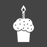 Birthday cake flat icon. Fresh pie muffin on black background Royalty Free Stock Photography