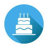 Birthday cake flat icon. Fresh pie muffin on blue round backgrou. Nd Royalty Free Stock Photo