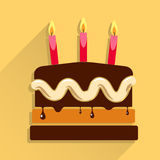 Birthday cake flat icon with long shadow. Birthday cake flat icon with candle and long shadow - Happy Birthday Stock Image