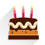 Birthday cake flat icon with long shadow. Birthday cake flat icon with candle and long shadow - Happy Birthday Stock Photo