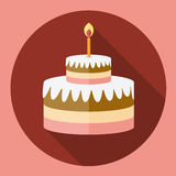 Birthday cake flat icon with long shadow. Cake symbol. Vector illustration Stock Images