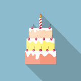 Birthday Cake Flat Icon with Long Shadow, Vector. Illustration Eps10 Royalty Free Stock Photos