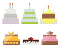Birthday Cake Flat Icon Set for Your Design, Vector Illustration. Eps10 Royalty Free Stock Photos