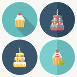 Birthday cake flat icon with shadow Royalty Free Stock Photo