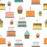 Birthday Cake Flat Seamless Pattern Background Royalty Free Stock Photo