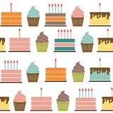 Birthday Cake Flat Seamless Pattern Background Stock Image