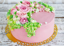 Birthday cake with flowers rose on white background Royalty Free Stock Photo