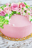 Birthday cake with flowers rose on white background Stock Photography