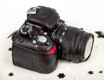 Birthday cake for forty anniversary with modern DSLR photo camer Royalty Free Stock Photo