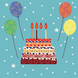 Birthday cake with four candles. Four years Stock Photography