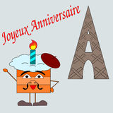 Birthday cake from France. A cake wishing a Happy Birthday in French vector illustration