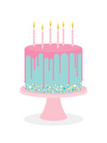 Birthday cake with frosting and burning candles Stock Images