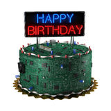Birthday Cake for Geeks. Fun birthday cake for geeks isolated over white background