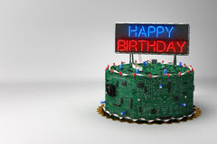 Birthday Cake for Geeks. Fun birthday cake for geeks with electronic components vector illustration