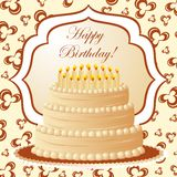 Birthday cake, gift card Stock Photo