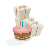 Birthday cake and gifts Stock Photos