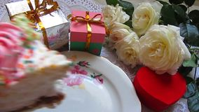 Birthday cake and gifts Stock Image