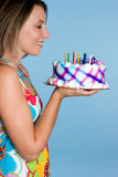 Birthday Cake Girl. Smiling girl holding birthday cake Stock Image