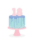 Birthday cake with glaze and number candles Stock Photography