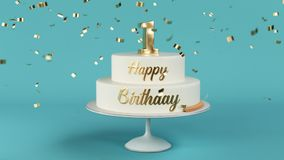 Birthday cake with golden letters and number 1 on top animation stock footage