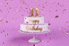 Birthday cake with golden letters and numer 11 on top. Birthday cake with golden letters and rose background 3d Illustration Stock Photos