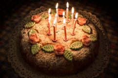 Birthday Cake. With handmade decorations and candles stock photos
