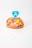 Birthday cake. With heart shaped candle (with letter A Royalty Free Stock Photos