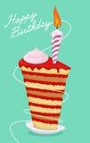 Birthday cake. High cake. Happy birthday postcard vector illustration