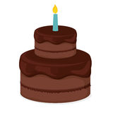 Birthday cake icon. Birthday cake with candles icon over white background. colorful design.  illustration Royalty Free Stock Photos