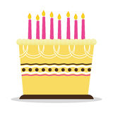 Birthday cake icon. Birthday cake with candles icon over white background. colorful design. vector illustration Royalty Free Stock Photography